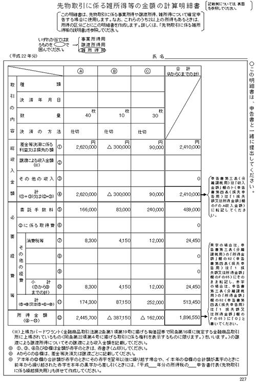 先物取引に係る雑所得等の金額の計算明細書