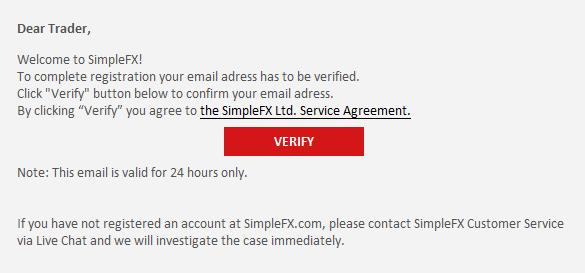 SimpleFX確認メール